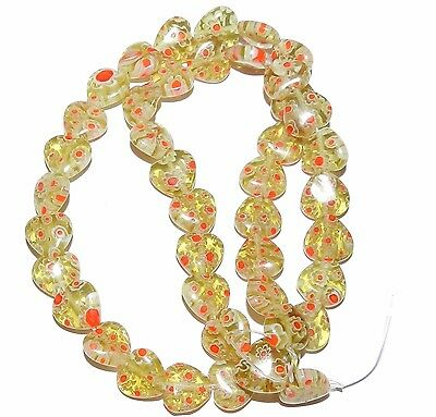 """G3036 Yellow-Green with Red & White Flowers 10mm Heart Millefiori Glass Bead 15"""""""