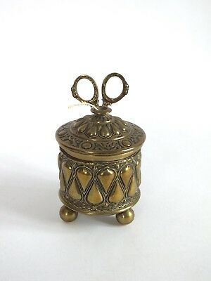 Vintage Antique Art Nouveau Style Small Brass String Holder With Scissors