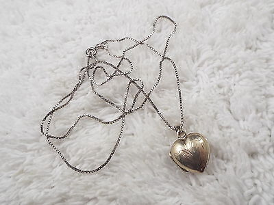 JANE CRAFT Sterling Silver Etched Heart Locket Pendant Necklace (A76)