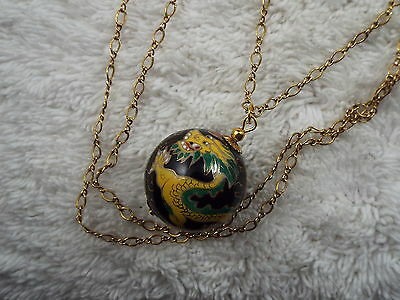 Goldtone Yellow Dragon Black Oriental Ball Pendant Necklace  (C39)