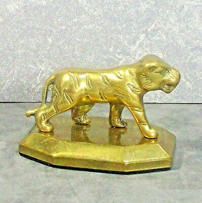 "Vintage solid brass Tiger paperweight 11.6oz  3""l x2.2""w x2.2"" tall ᵛ"