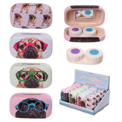 1 x pug dog design contact lens case box