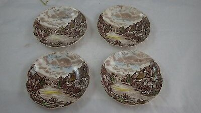 Set of 4 JOHNSON BROTHERS Saucer PLATES OLDE OLD ENGLISH COUNTRYSIDE VINTAGE