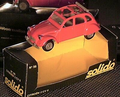 BELLE CITROEN 2 CV 1978/90 / VRAI ORIGINAL SOLIDO 1978 ORANGE + boite d'origine