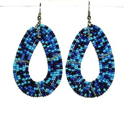 """Traditional South African Beaded Teardrop Earrings 2.25"""" FREE SHIPPING T02"""