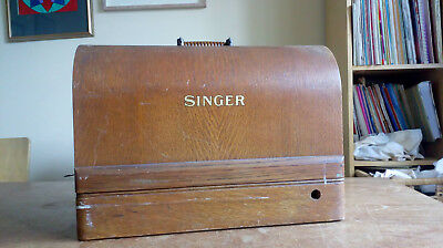 Vintage Wooden Singer sewing machine case/cover & base +key from m/c  EA105719