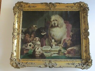 Antique 19Th Century Masterful Dog Painting Portrait Satire Rare Large Framed