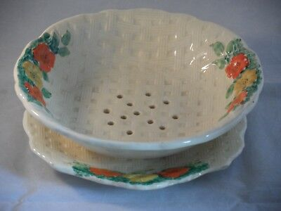 Art Deco? Pottery Floral 3550 Strainer & Stand In The Style Of Clarice Cliff?
