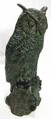 Bronze Horned Owl Sculpture Statue 90's Vintage Large 26 cm 2.2 kg