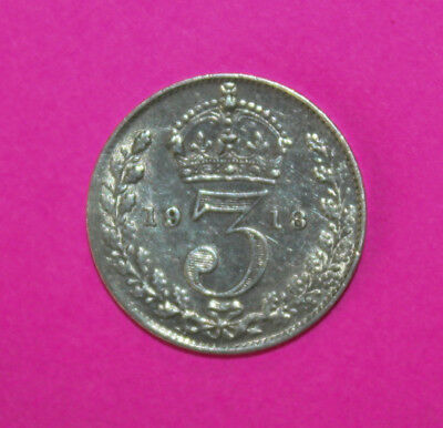 Great Britain 3 Pence 1918 Extremely Fine Silver Coin - King George V