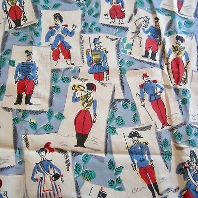 50cm x 95cm Vintage Cotton Fabric 1940s Red White Blue Soldiers Novelty print