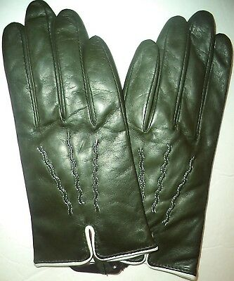 Ladies  Ivory Stiched Genuine Leather Driving Gloves,Medium Green