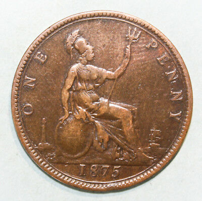 Great Britain 1 Penny 1875 Very Fine Coin - Queen Victoria