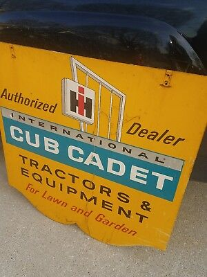 Vintage Original 2 side IH International Harvester Cub Cadet tractor Dealer Sign