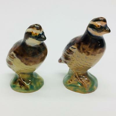 Rosemeade Pottery Bobwhite Quail Pair Salt Pepper Shaker Set North Dakota USA