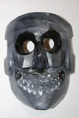 396 COLORED BLACK DEATH MEXICAN WOODEN MASK skull calavera hand carved & painted