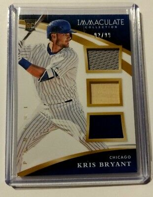 Kris Bryant 2015 Immaculate Collection Rookie Triple Relics # 92/99 Chicago Cubs