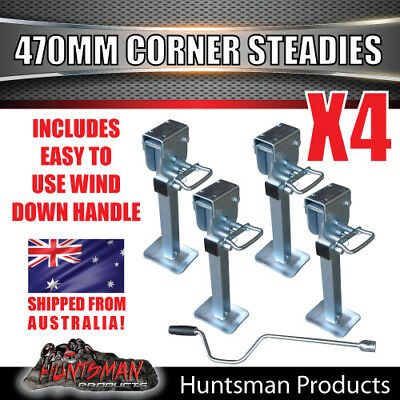 4x 470mm DROP DOWN CORNER LEGS STEADIES. & HANDLE STEEL FOOT! CARAVAN TRAILER