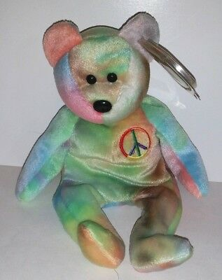 Ty Beanie Babies Peace Bear Tie-Dye Retired Plush With Tag Teddy Baby 5Th Gen