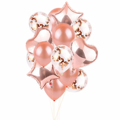 14PCS Foil Latex Rose Gold Star Heart Balloons Set Hen Party Wedding Birthday