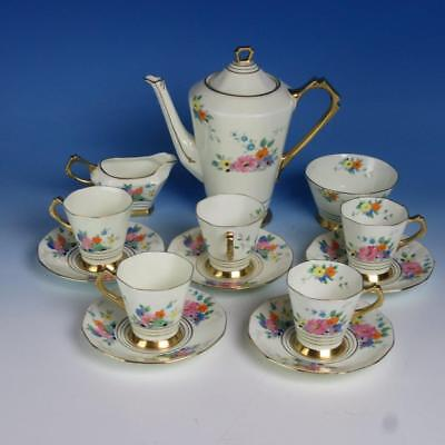Tuscan China - Deco Floral Decorated - Coffee Pot, Creamer, Sugar, 5 Cup/Saucer