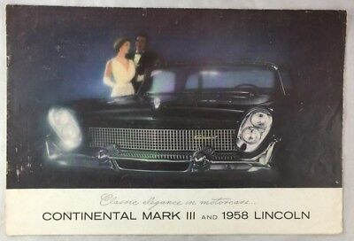 Original 1958 Oversized Lincoln Car Auto Brochure Continental Mark III Premiere+