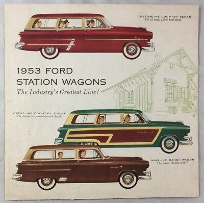 Original 1953 Ford Car Auto Brochure Station Wagons Ranch Country Sedan Squire +