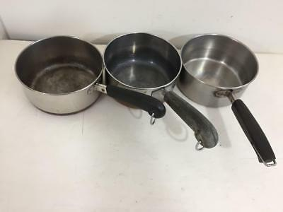 LOt of 3 1 QT Vintage Revere Ware pots copper bottom pan 1801 stainless steel