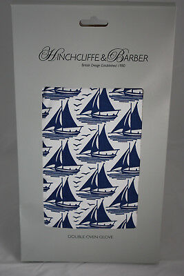 Hinchcliffe Barber ~ SAILING ~ double oven glove BNWT blue white 100% cotton