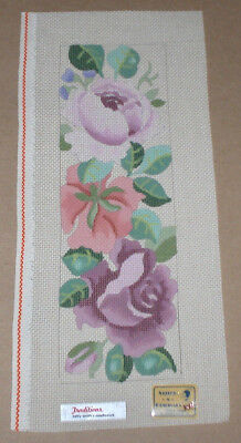 Betty Smith Colorful Roses w/ Leaves Handpainted Needlepoint Canvas