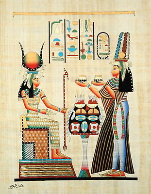 "Egyptian Papyrus Hand Made Artwork -12"" x 16"" - Queen Nefertari Offering To Isis"