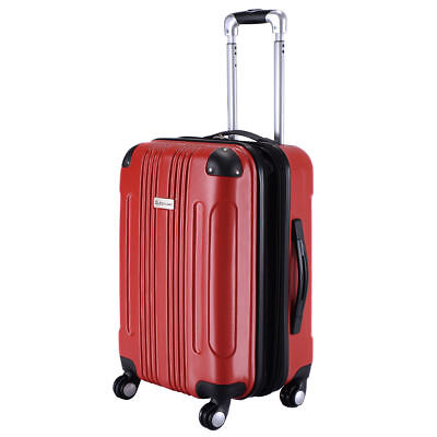 "20"" Red Expandable Travel Bag Hardshell Suitcase Luggage Spinner Lightweight New"