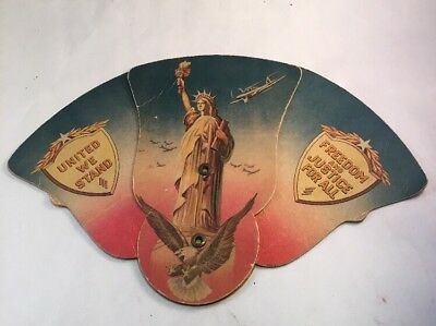 Vntg WWII Patriotic Hand Fan Jefferson City MO Fighter Planes Statue of Liberty