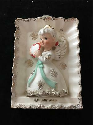 Napco Lefton February Birthday Angel Wall Plaque Hanger Spaghetti Fur