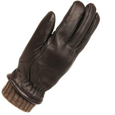 Wilsons Leather Mens Heather Knit Leather Glove W/ Elastic Knit Cuffs