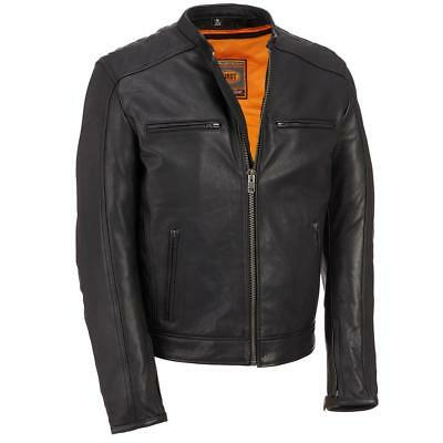 Wilsons Leather Mens Performance Leather Motorcycle Jacket W/ Scuba