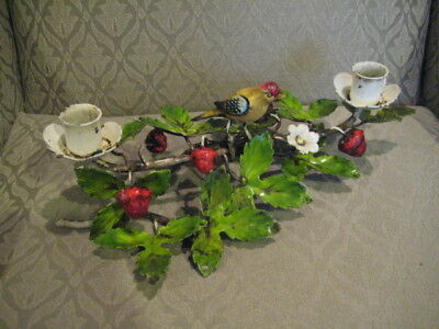 Antique Tole Painted Metal Strawberry Vine & Bird  Candle Holder Italy 13""