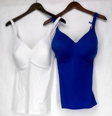Rhonda Shear Size M 2-Pack Molded Cup White / Blue Camisole Set Womens