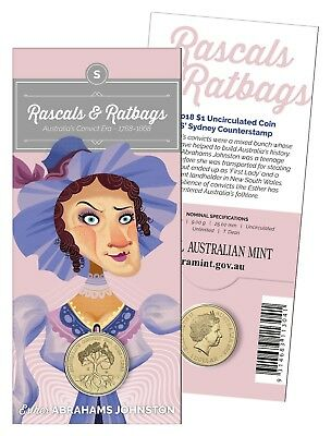 2018 Australia Carded $1 Unc Coin, Rascals and Ratbags 'S' Counterstamp Esther