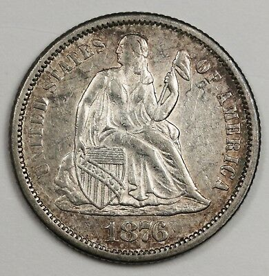 1876-cc Seated Liberty Dime.  Natural A.U.  123174