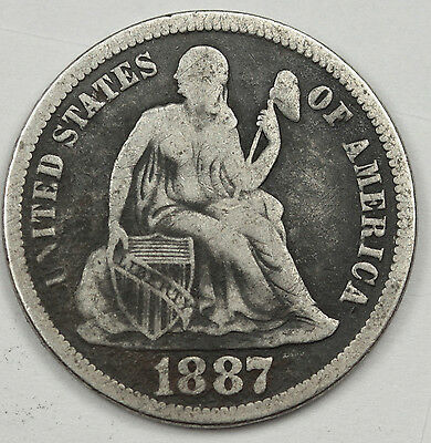 1887-s Liberty Seated Dime.  Fine.  82588