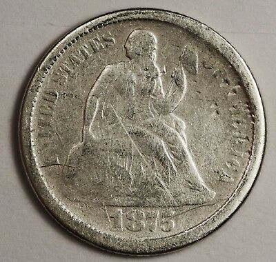 1875-s Liberty Seated Dime.  Circulated.  119458
