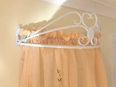 Iron French Style Wall Mounted Canopy Drape Mosquito net Holder+Tiebacks WHT