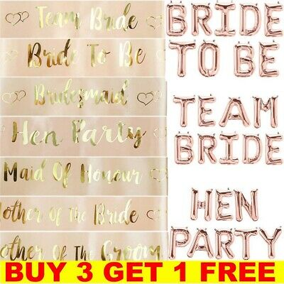 Hen Party Sashes Rose Gold Bride To Be Hen Party Balloons Girls Night Out