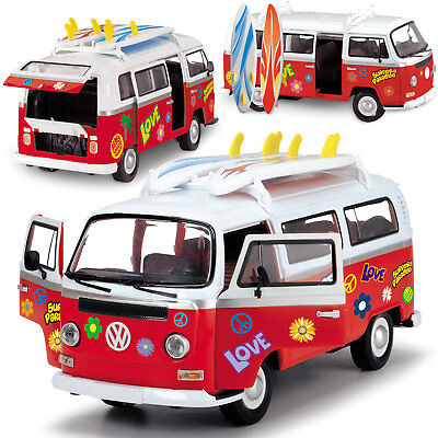 Dickie Toys Surfer Van Bully BUS T2 VW Hippie VOLKSWAGEN ROT Auto 203776001