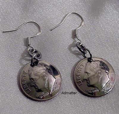 Usa Dime Earrings Pick Birthday Anniversary Year! 925 Wires 1945 Sterling Silver