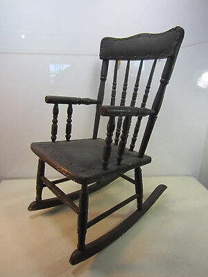 Antique Leather Seat & Back Child's  Rocking Chair