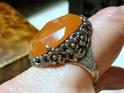 Vtg Chinese Export silver Oversized Adjustable Ring with faceted Carnelian