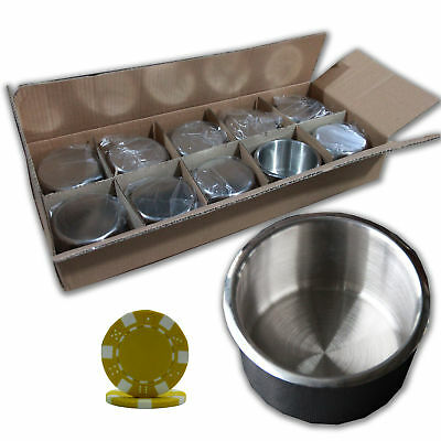 10Pc Stainless Steel Poker Table Cup Holder Regular Size&100 Ye Poker Chips