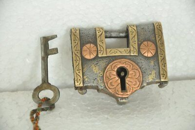 Old Iron Solid Engraved Handcrafted Brass & Copper Fitted System Padlock